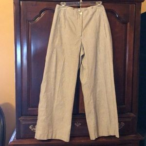Chico's olive green striped flared leg pants